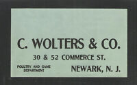 1920s C WOLTERS & CO POULTRY AND GAME DEPT NEWARK NJ ADVERTISING COVER