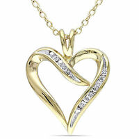Yellow Sterling Silver Diamond Heart Love Pendant Necklace With Chain GH I3 925
