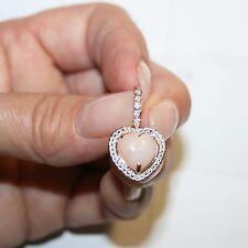 4ctws Genuine Pink Opal White Diamond Heart Earrings 14k Rose Gold over 925 SS