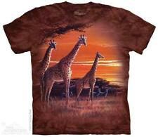 7656817b The Mountain Adult Unisex Sundown Giraffes Brown Animal T Shirt 3xl
