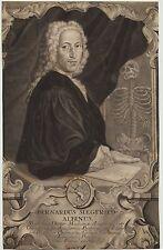 B. S Albinus Original ROKOKO Mezzotinto Kupferstich um 1750 Medizin Skelett Arzt