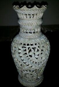 Antique Vintage china Natural Shoushan stone Hand Caring Vase 8.5x3.5inch