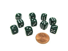 Pack of 10 Deluxe Round Edge Small 10mm Opaque D6 Dice - Green