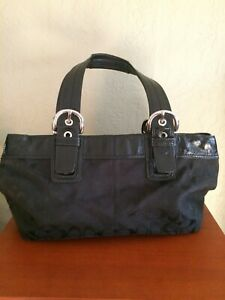 Coach F13742 Black Signature Patent Leather Tote Shoulder Bag Purse hobo Satchel