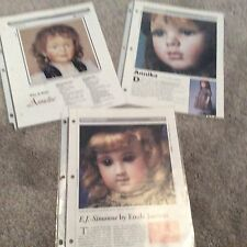 3 SEELEY DOLLMAKER'S WORKSHEETS--  In English & German