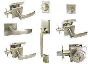 Satin Nickel Square door lever entrance privacy passage locks deadbolt Brushed