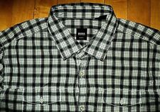 * HUGO BOSS * Vintage 90s NEW L Authentic Button Down Plaid Western Style Shirt