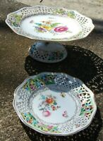 Dresden Germany Porcelain Hand Painted Reticulated Tazza Cake Stand Dessert