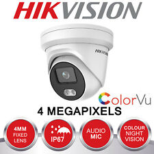 HIKVISION 4MP IP POE CCTV DOME CAMERA HD 4MM OUTDOOR MIC COLOUR AT NIGHT COLORVU