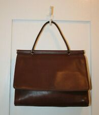 COACH Vintage Whitney Top Handle Brown Leather Flap Retro Mad Men SATCHEL #9185