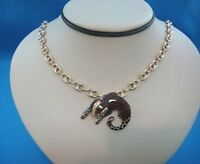 14K YELLOW GOLD NECKLACE WITH PANTHER SLIDING PENDANT MADE IN ITALY 26.1 GRAMS