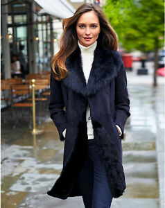 Pure Collection Navy Shearling Coat - Size 14 RRP £1200