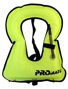 Promate SNORKEL VEST Adult Large 150-240 lb Yellow Snorkeling Life Safety Jacket