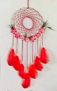 RED FLOWER DREAM CATCHER Handmade Wall Hanging Decor Crafts Gifts Ornament