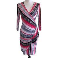 New York & Co Faux Wrap Dress Paisley Stripe Ruffled Red & Black Women's Size XS