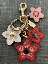 Coach NWOT Keychain Bag Charm Leather Red And Pink Flower Gold Hardware Hook