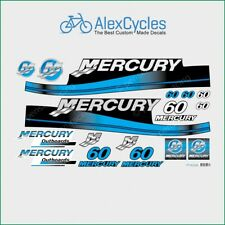 MERCURY 60 HP Outboard Replacement BLUE Laminated Decals Kit Set Marine Boat