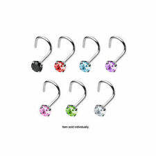Nose Rings Screw Body Jewelry with Prong Set CZ Gem 18g