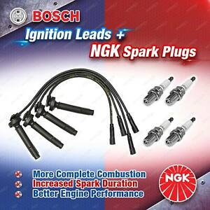 4 x NGK Spark Plugs + Bosch Leads for Subaru Impreza GD GG Liberty BE Outback BH