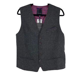 Ted Baker Men's Semi Plain Wool Waistcoat Vest Gray Size 4 NWT $235