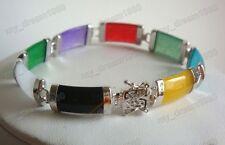 """Plated Link Fortune Luck Bracelet 7.5"""" Natural Multi-Color Gems 18K White Gold"""