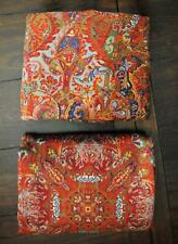2 Pc Ralph Lauren Galahad Sateen Twin Flat & Fitted Sheet Red Medieval Guinevere