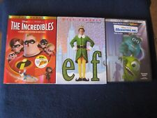 3 DVD ~ DISNEY PIXAR, The Incredibles, Monster, INC. Elf Original Discs & Cases