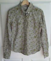 Odille Anthropologie Womens Green Striped Eyelet Button Down Top Shirt Size 2