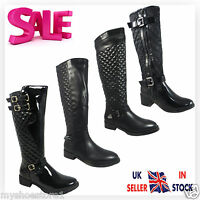 LADIES WOMEN BOOTS MID CALF KNEE HIGH WINTER QUILTED RIDING BIKER FLAT LOW SHOES