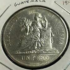 1894 GUATEMALA SILVER ONE PESO NEAR UNCIRCULATED CROWN