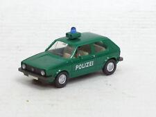 """VW Golf I zweitürig """"Polizei"""" in grün mit farbl. Details, Wiking, 1:87, ohne OVP"""