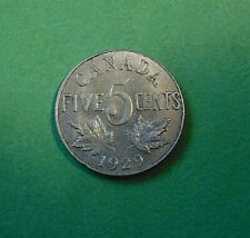 CANADA 1929 5 five cents NICKEL coin King George V