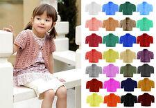 Kid's Crochet Open Short Sleeve Knitted Bolero Cropped Cardigan Shrug Age 2-14