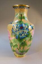 Cloisonné Vase Emaille Metall Messing Zellenemaille Japan um 1900 groß 38 cm