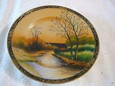"""Vintage Beautiful Water Way Japan Fall Scene Hand Painted Plate, 7 1/4"""" Diameter"""