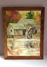 Original Oil Painting By Peg Carson Old Grist Mill Texarkana 1979 Framed Signed