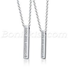 2pcs Couples Stainless Steel CZ Custom Engraving Vertical Bar Pendant Necklace