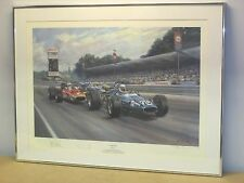 Close Finish Print By Alan Fearnley Signed by Jackie Stewart Ken Tyrrell