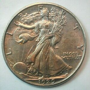 1929-D USA Liberty Walking Silver 1/2 Dollar Slider/Unc Condition KM#142 (449)