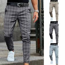 Hombres Pantalones Lápiz Ajustados A Cuadros Informal Formal Boda Negocios Pantalón Ajustado H