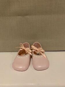 Baby Dior Pink Leather Pram Shoes Size UK1 US2 EU17