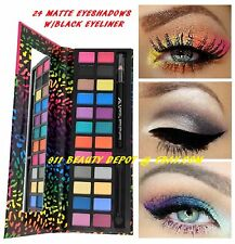 24 Color Eye Shadow Makeup Cosmetic Matte Eyeshadow Palette + Black Eyeliner
