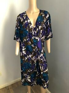 DONNA ENRICA s/sleeve silk blend muticolored floral dress 14 16 EUC made Italy