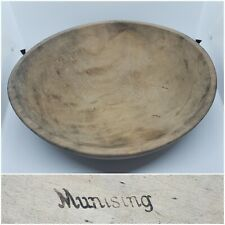 """Vintage MUNISING Wooden 13"""" Maple Primitive Dough Or Fruit BowlFarmhouse"""