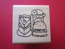 Jrl Design-Wooden Rubber Stamp-Slice of Cake Hamburger and a Jar