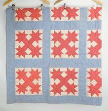 Antique Botch Handle Or Corner Star Quilt: 71.25'' x 72'' Cotton 1900's