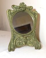 antique ornate Art Nouveau figural portrait brass table vanity wall mirror