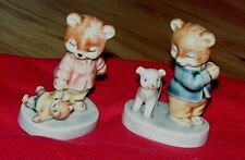 """Vintage Set Of 2 Bisque Bear Figurines 2.5"""" Tall Made In China #13 & 5"""