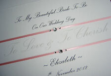 "Personalised Card For Bride/ Wife To Be On Wedding Day : "" Love & Cherish """