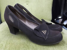 40s Chocolate Brown Suede Heels w/ Copper Studs by Nancy Leigh